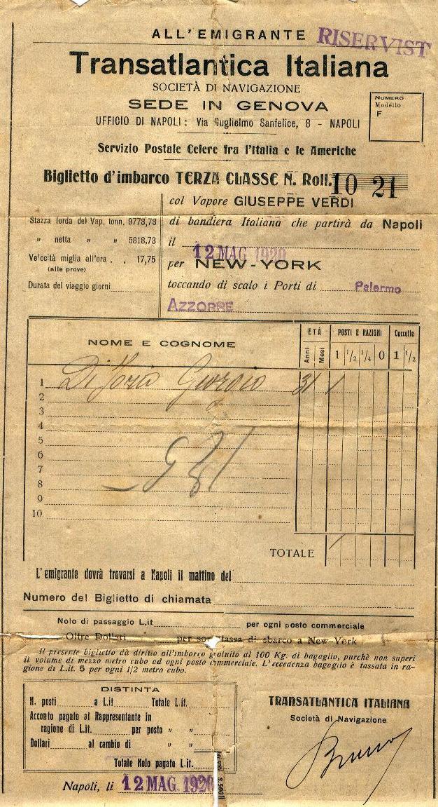 Biglietto x New York